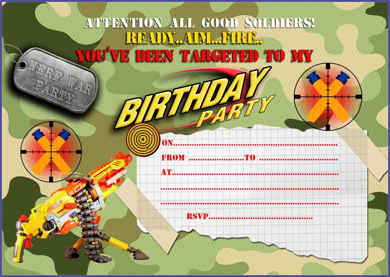 Nerf Battle Birthday Invitations
