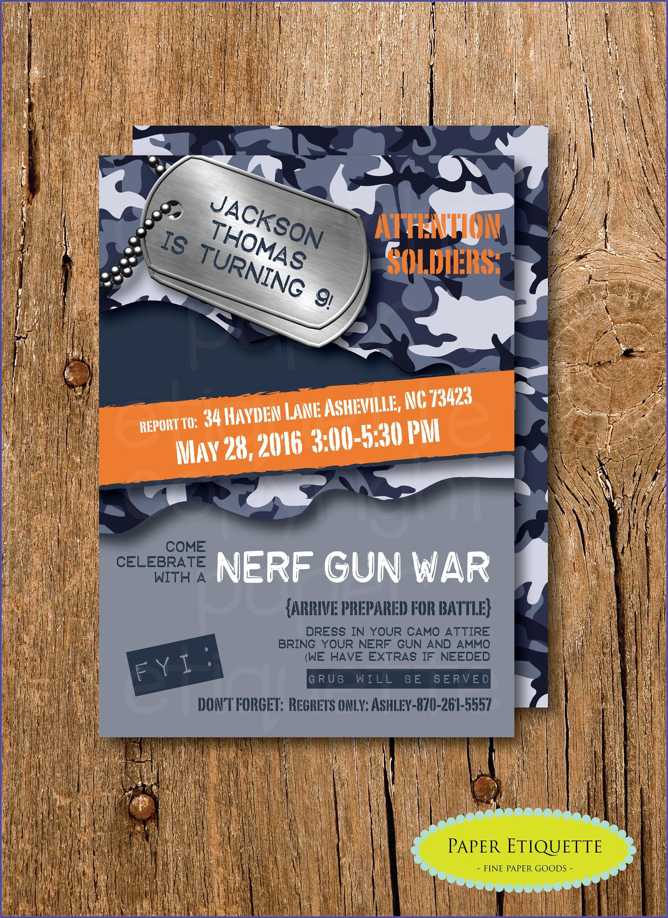 Nerf Gun Birthday Party Invites