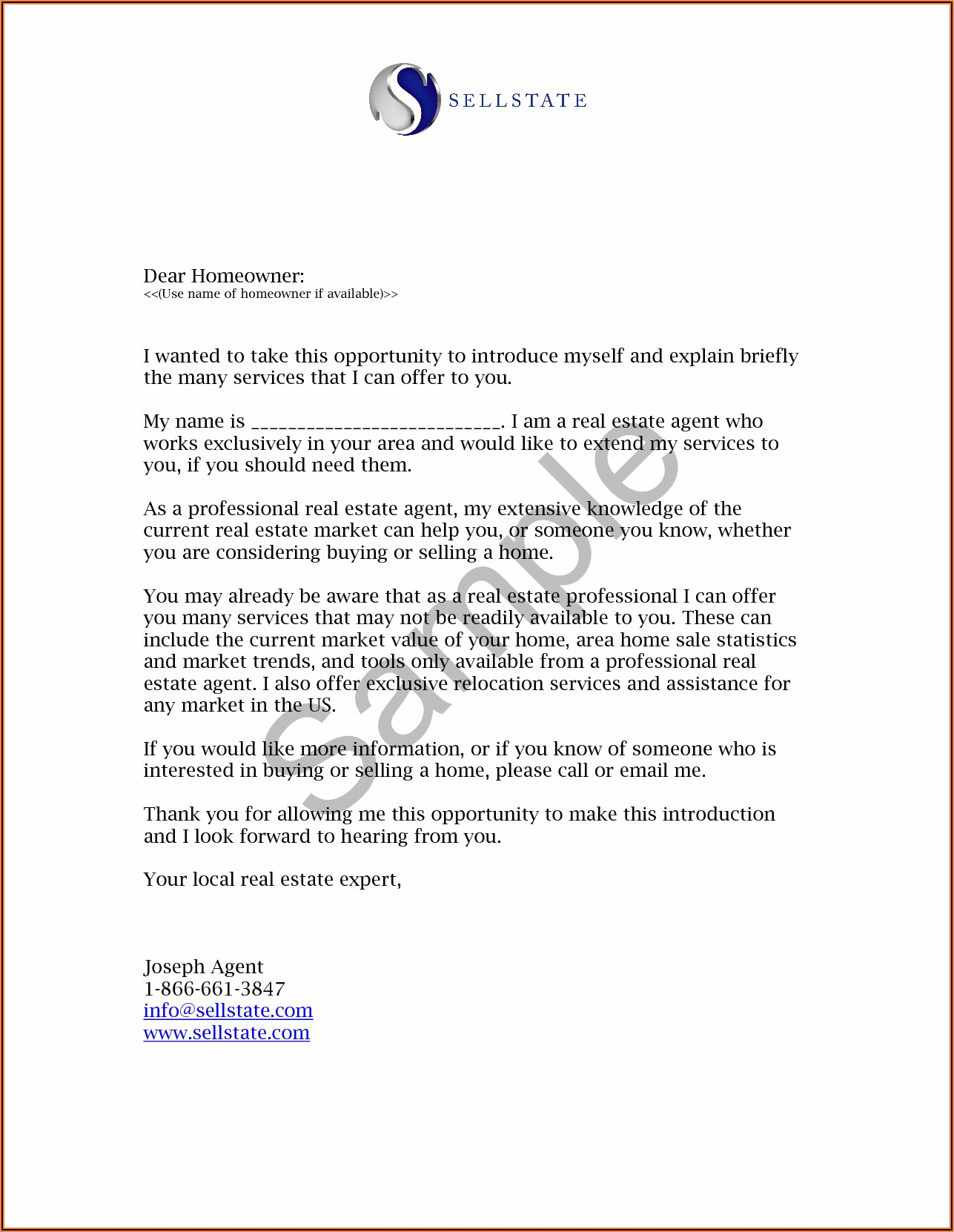 New Real Estate Agent Introduction Letter Examples