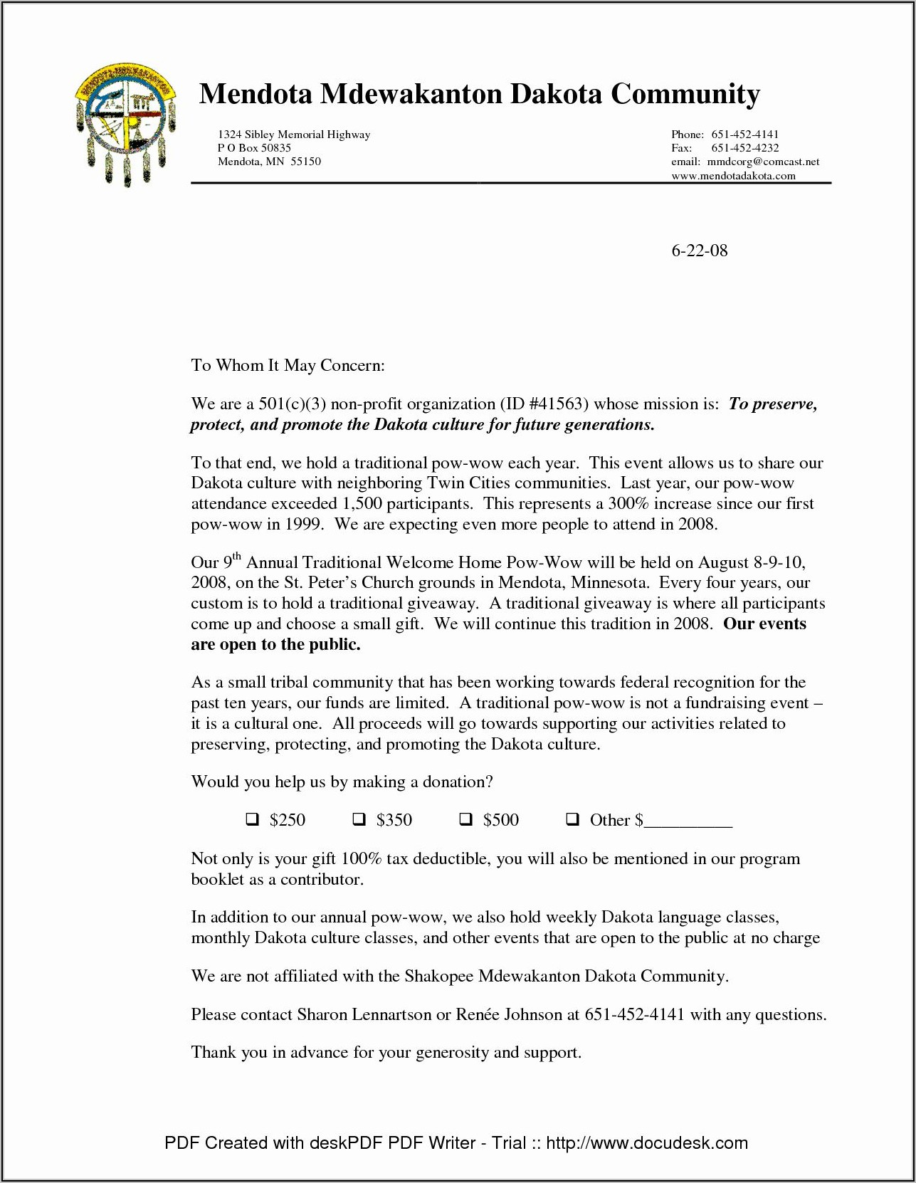 Non Profit Donation Request Letter Template