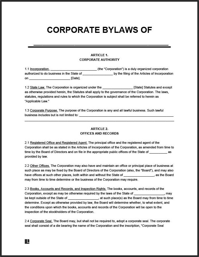 Nonprofit Bylaws Template Word