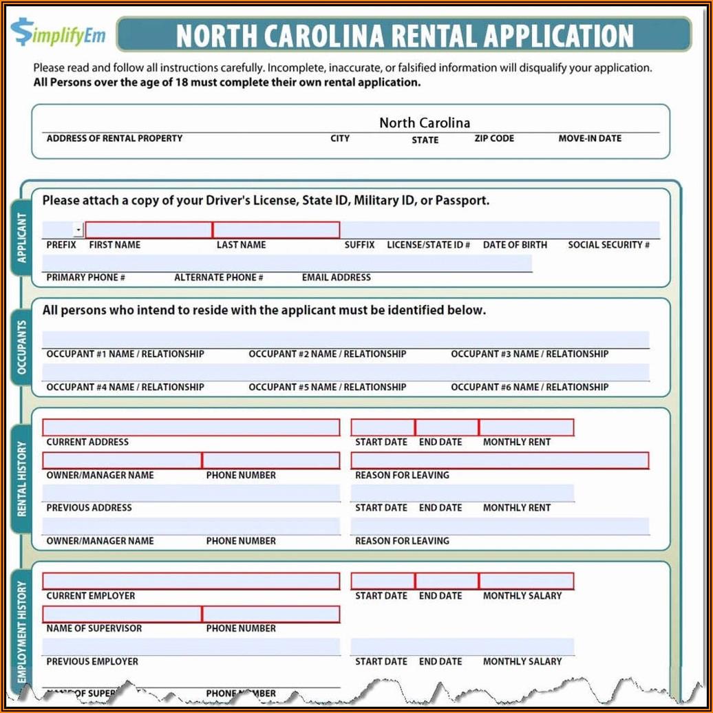 North Carolina Rental Agreement Form
