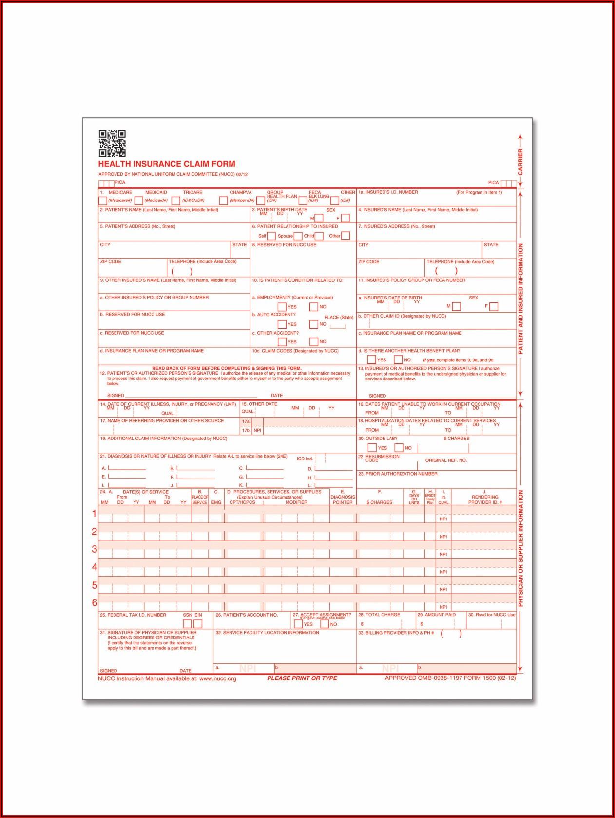 Nucc 1500 Claim Form Pdf Free
