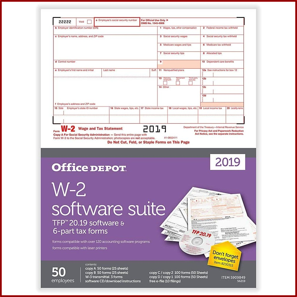 Office Depot W 2 Forms 2019