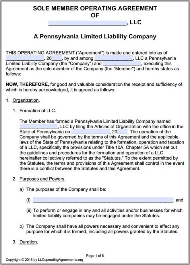 Ohio Single Member Llc Operating Agreement Template