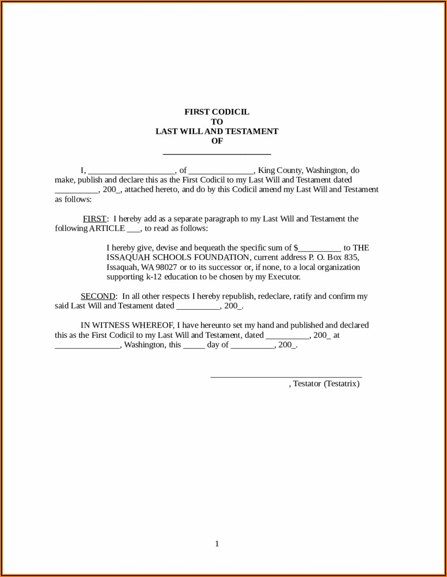 Online Last Will And Testament Form
