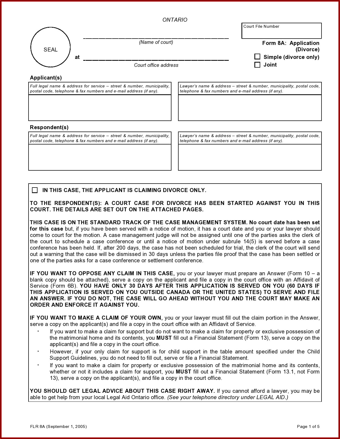 Ontario Divorce Forms 25a