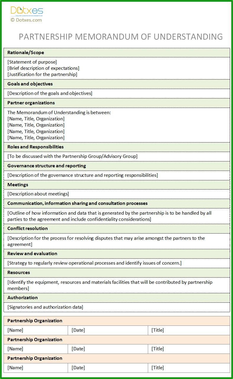Partnership Memorandum Of Understanding Template