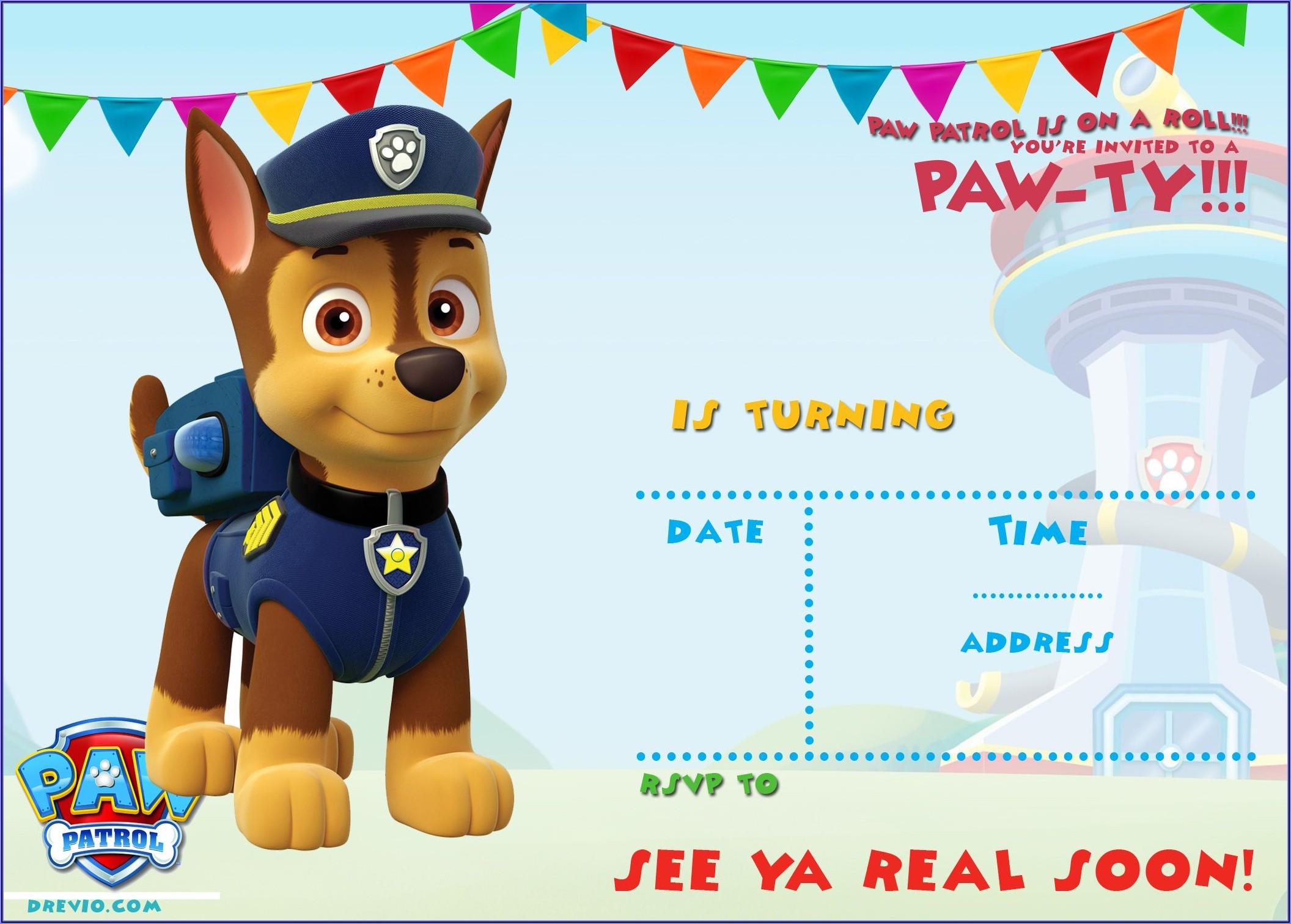 Paw Patrol Free Printable Invitation Template