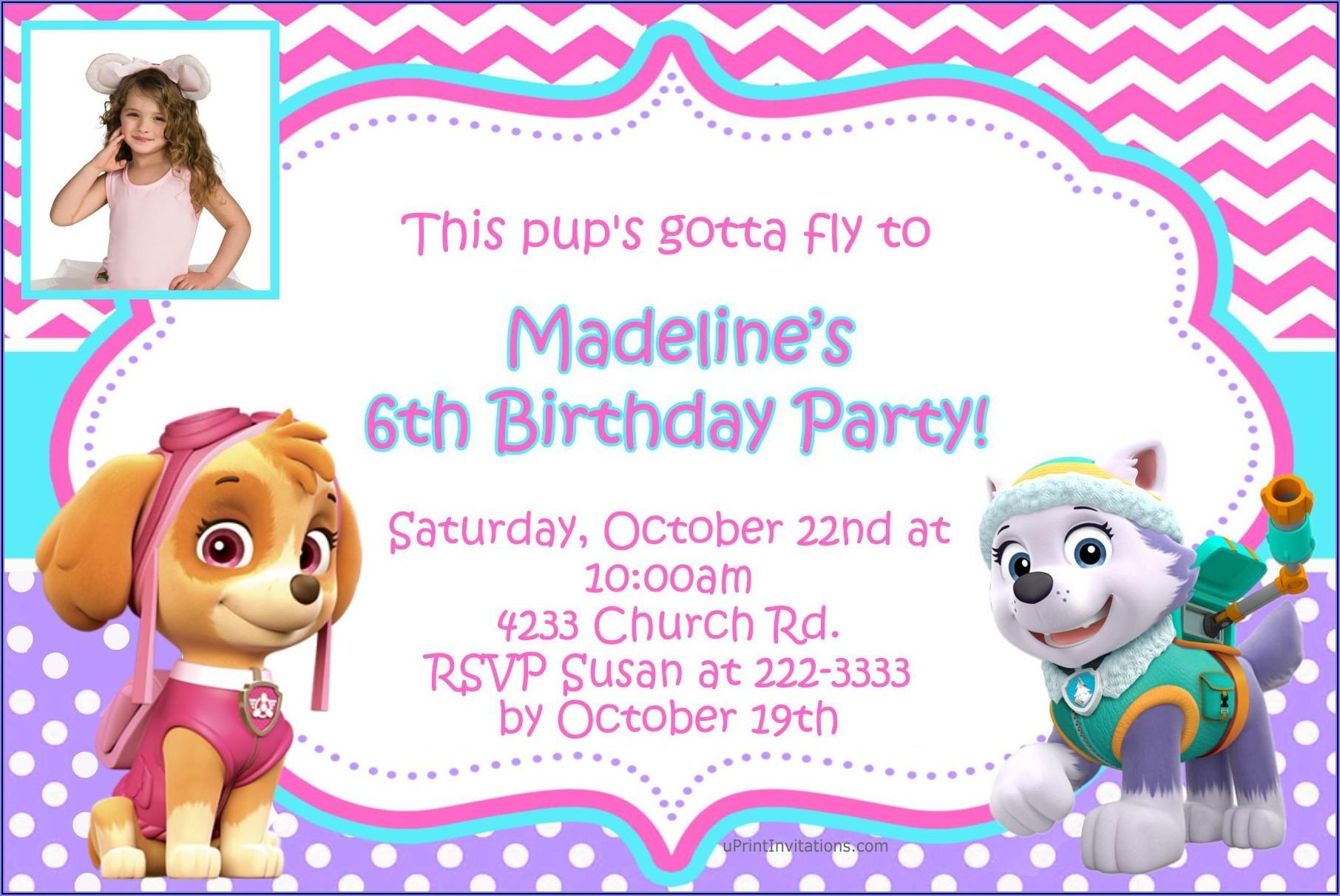 Paw Patrol Girl Birthday Invitations
