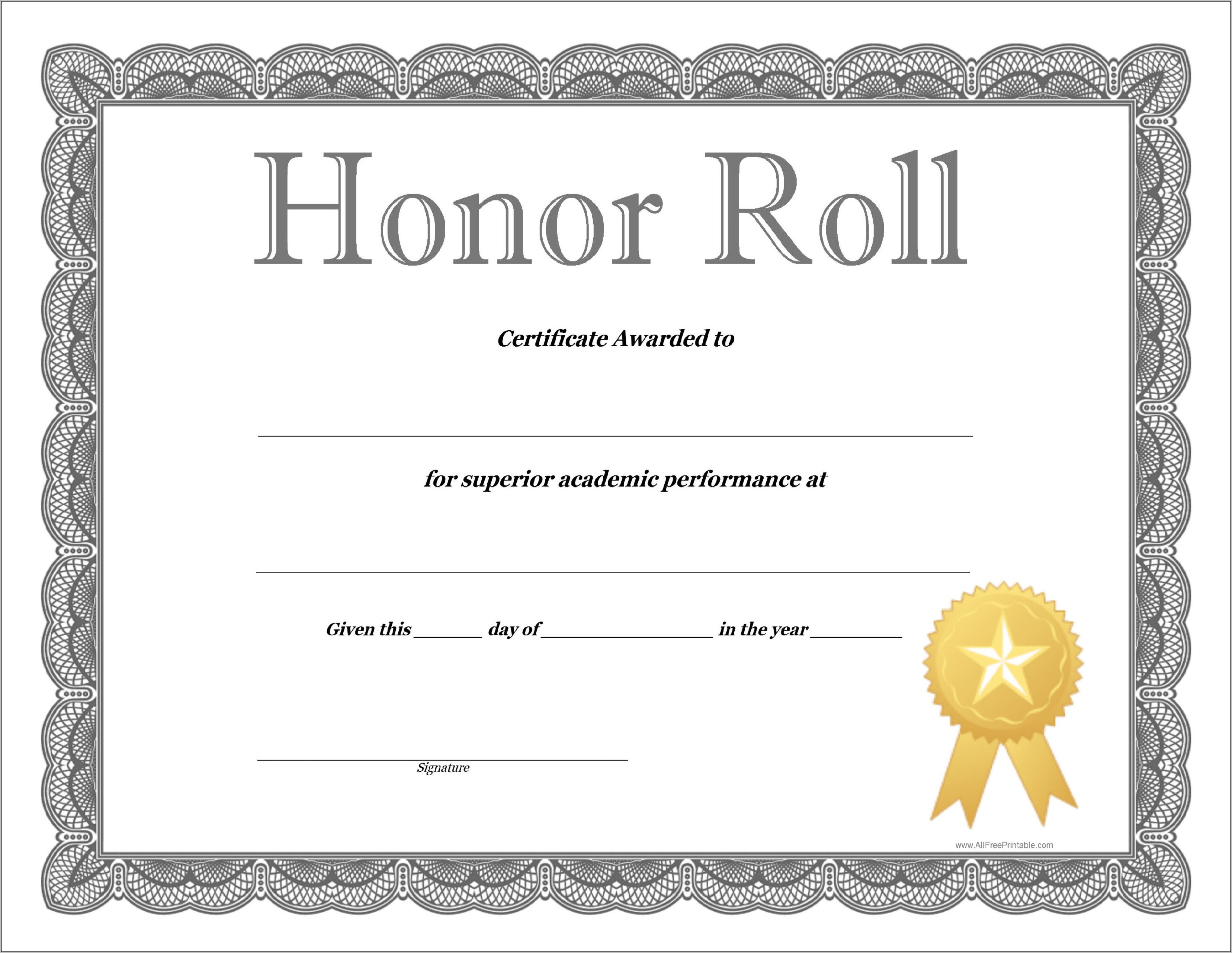 Perfect Attendance Award Template Free