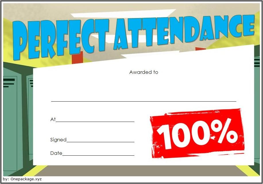 Perfect Attendance Certificate Template Editable