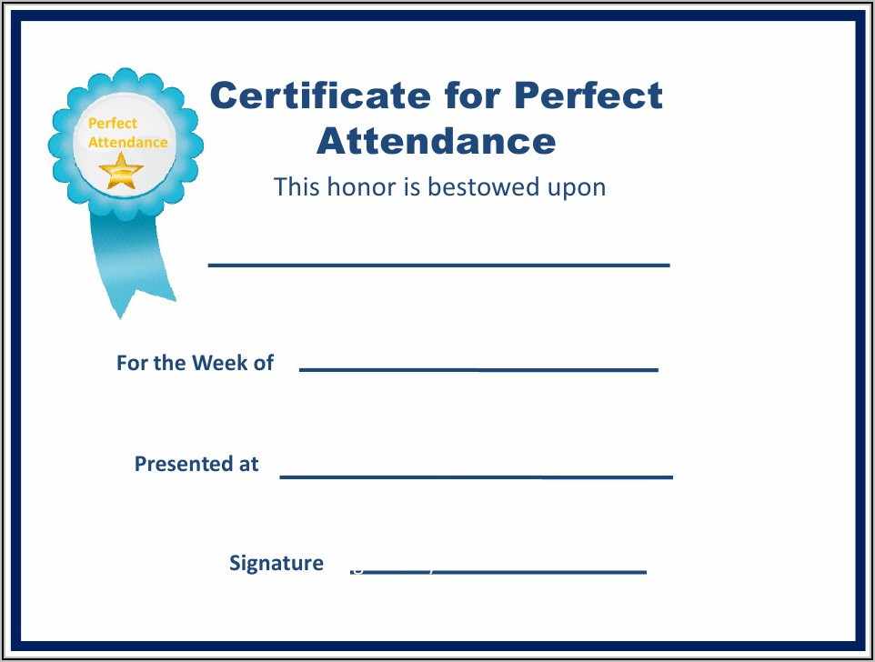 Perfect Attendance Certificate Template Pdf