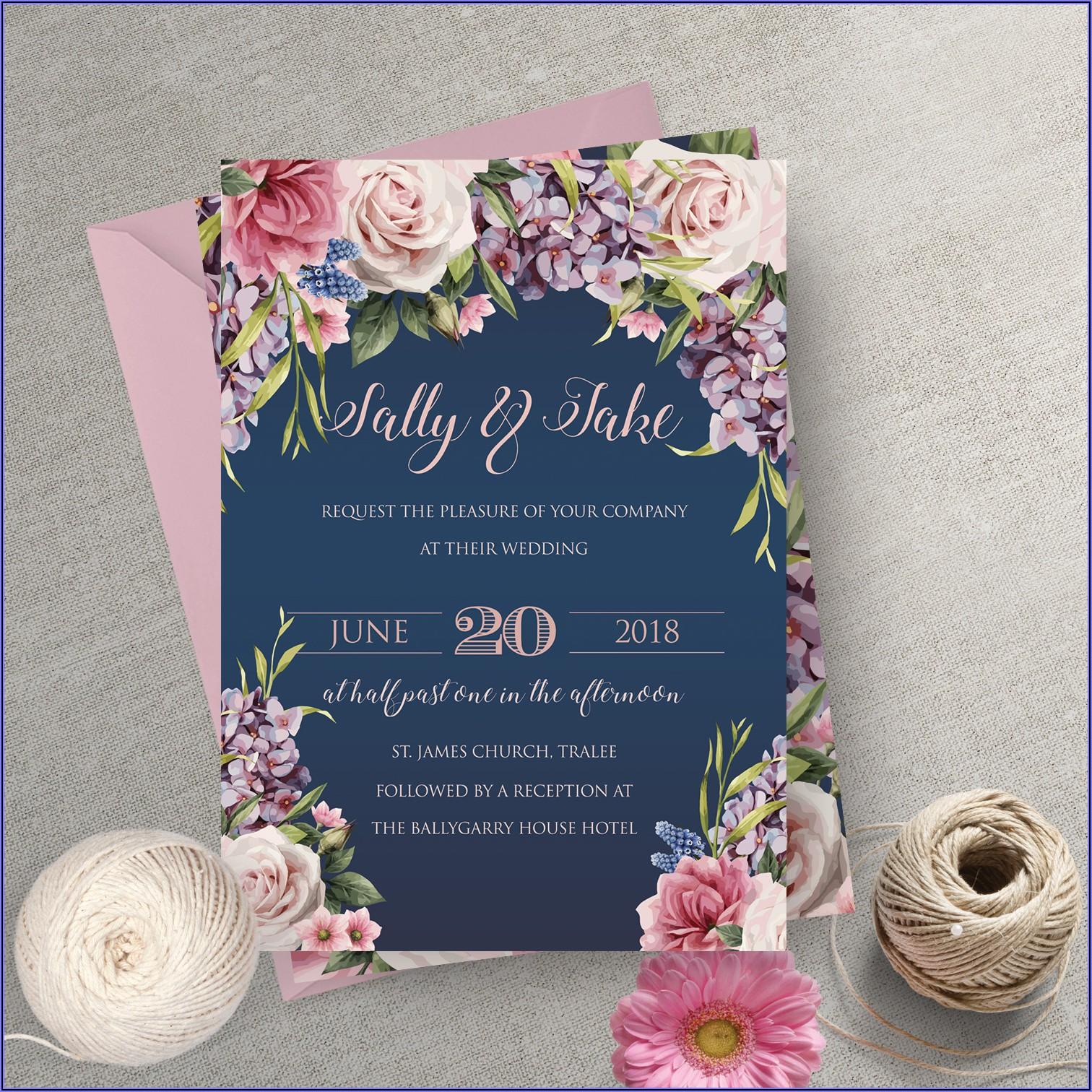 Pink And Navy Wedding Invitations