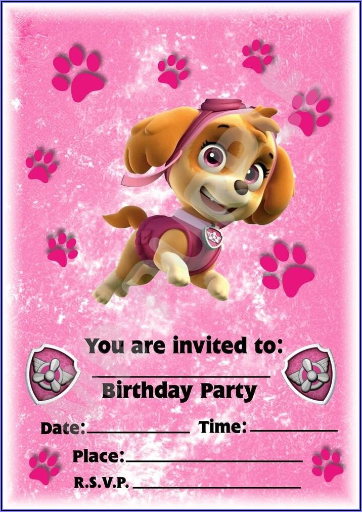 Pink Paw Patrol Invitation Template