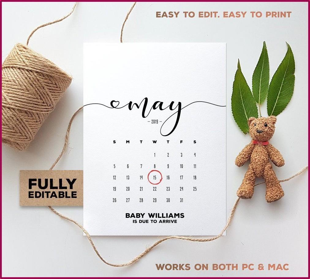 Pregnancy Announcement Calendar Free