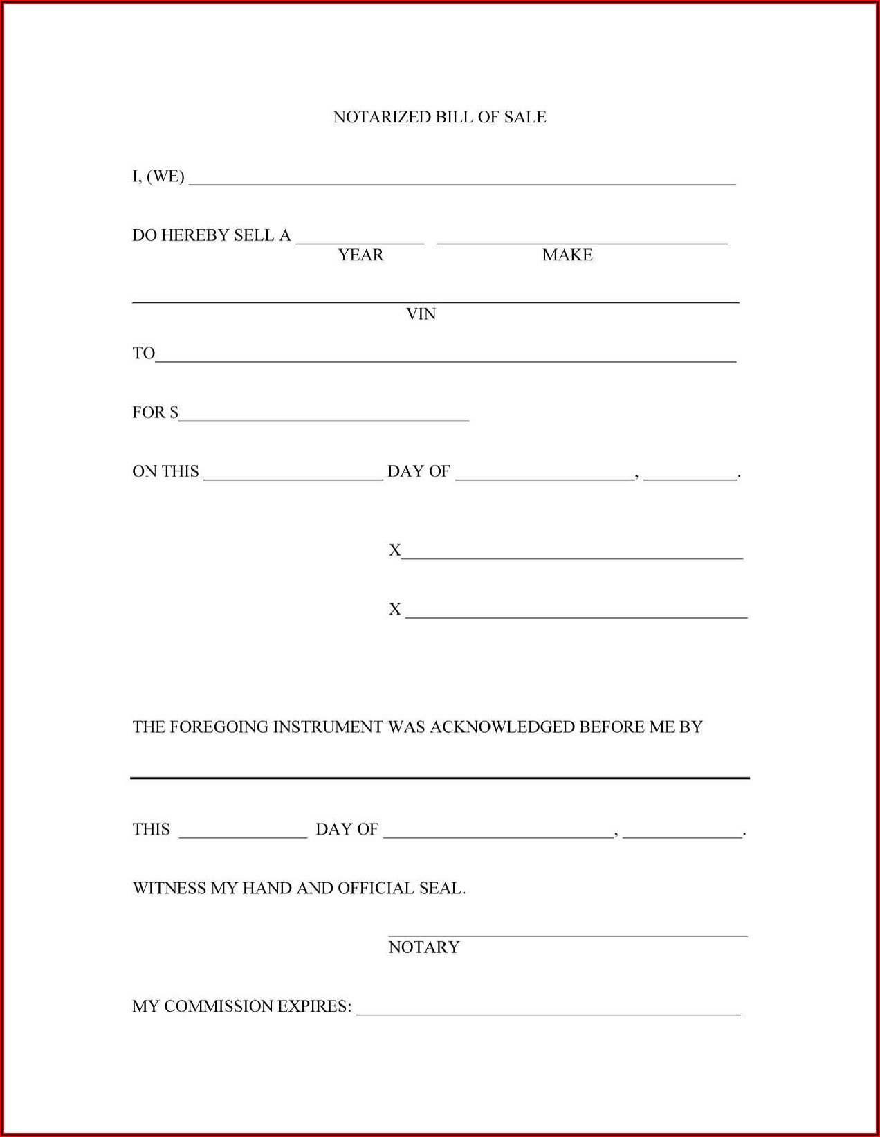 Printable Bill Of Sale Template Canada