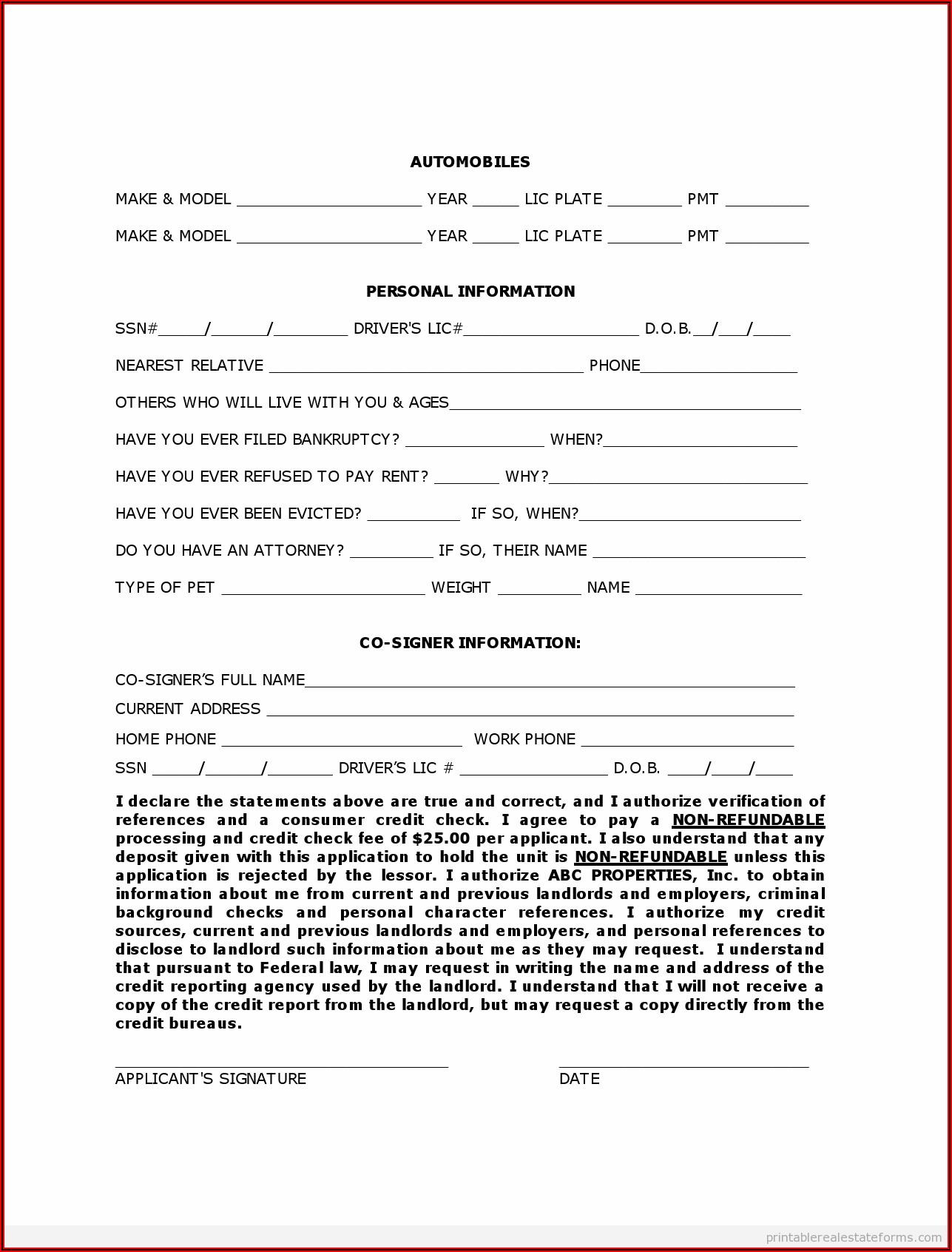 Printable Blank Rental Agreement Form