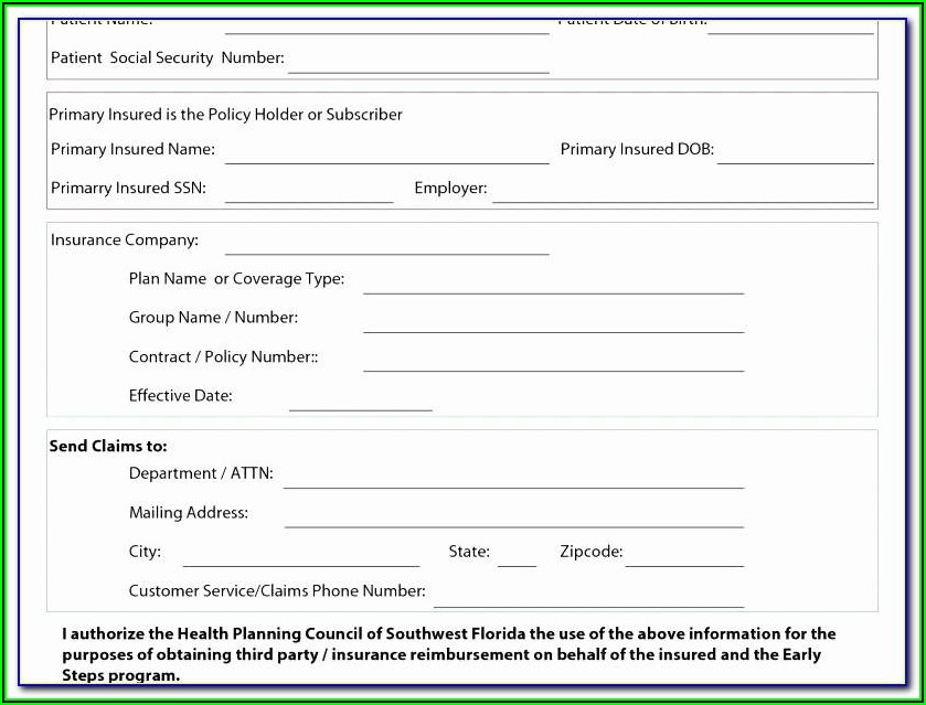 Printable Free Blank Insurance Card Template