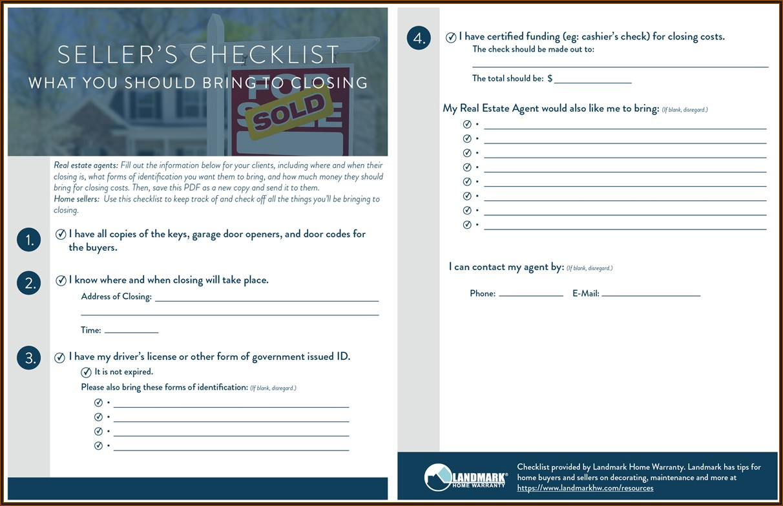 Real Estate Closing Checklist Form