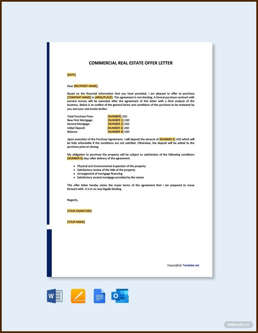 Real Estate Offer Letter Template Pdf