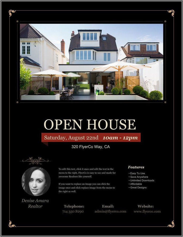 Real Estate Open House Brochure Template