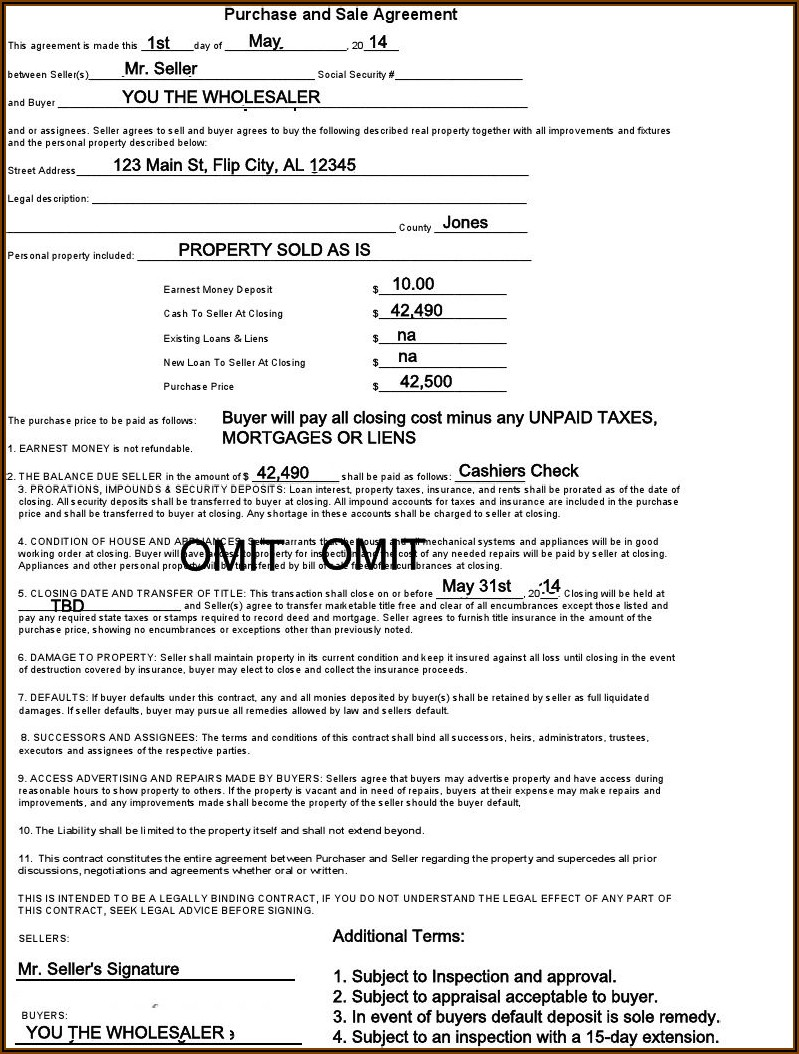 Real Estate Wholesale Contract Template Pdf