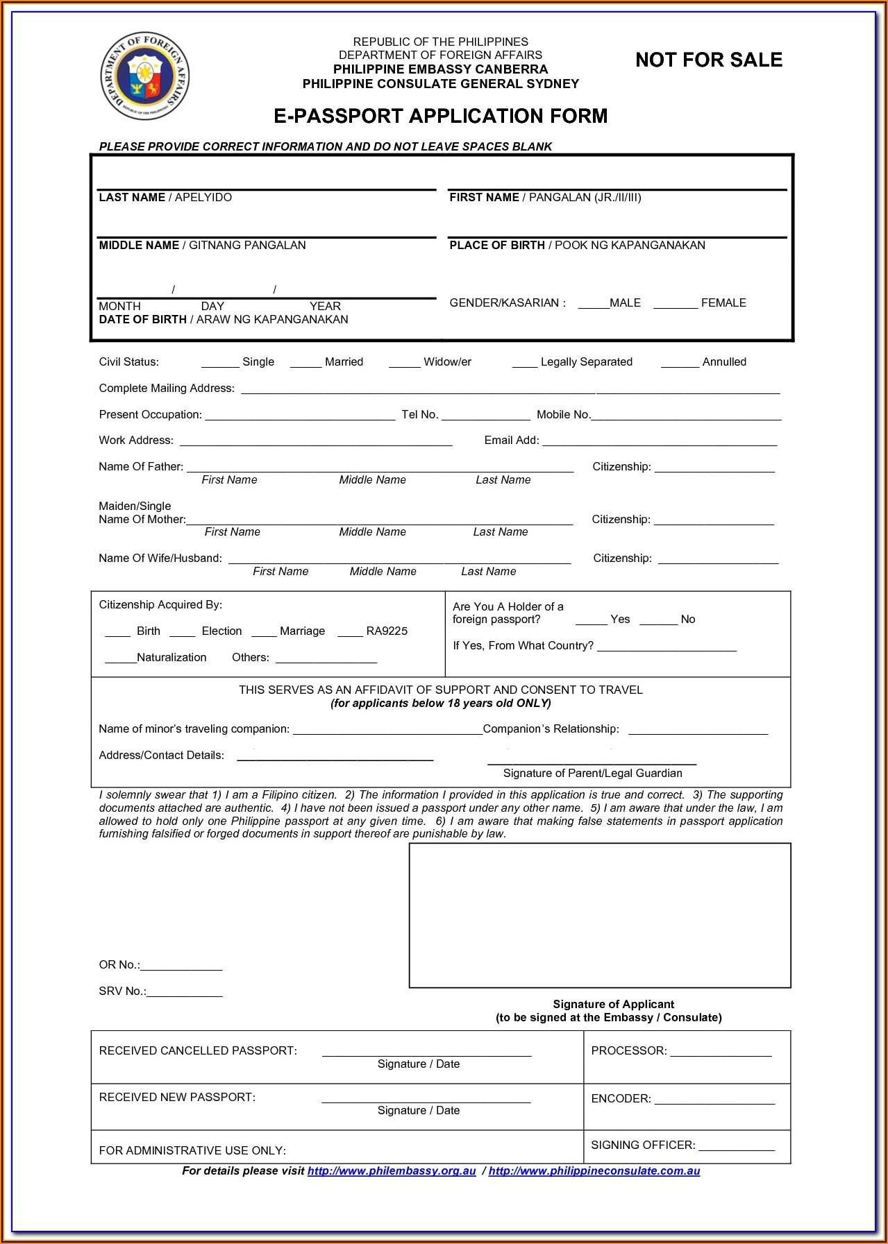 Renewal Of Passport Application Form Online