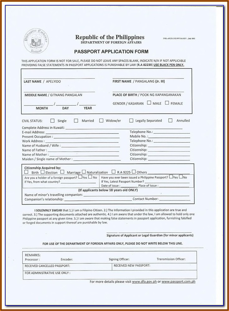 Renewal Of Passport Application Form Philippines