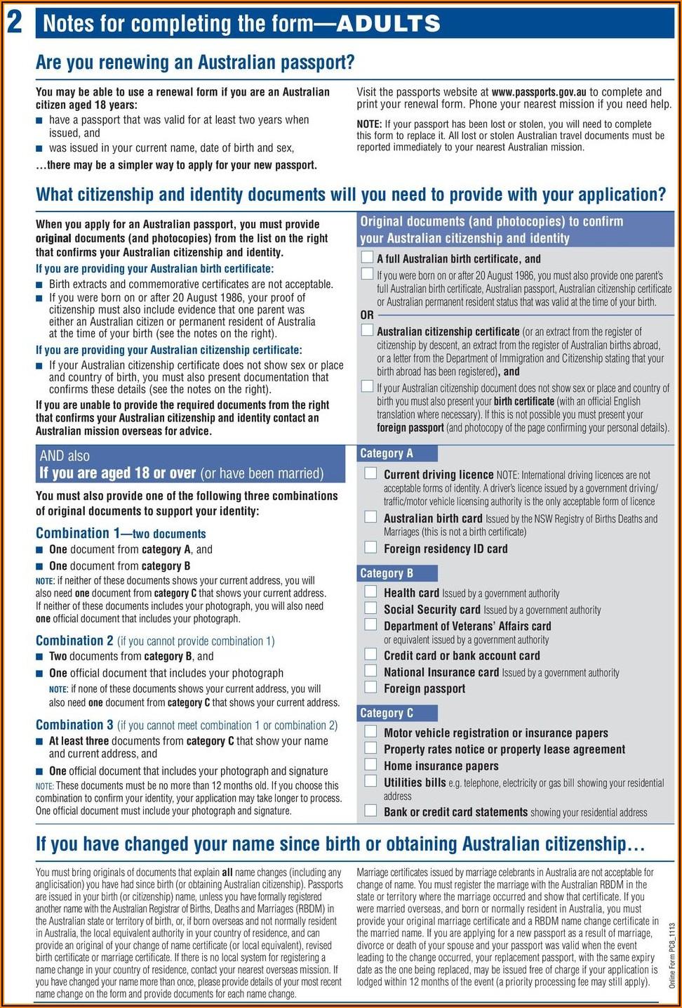 Renewal Of Passport Australia Application Form