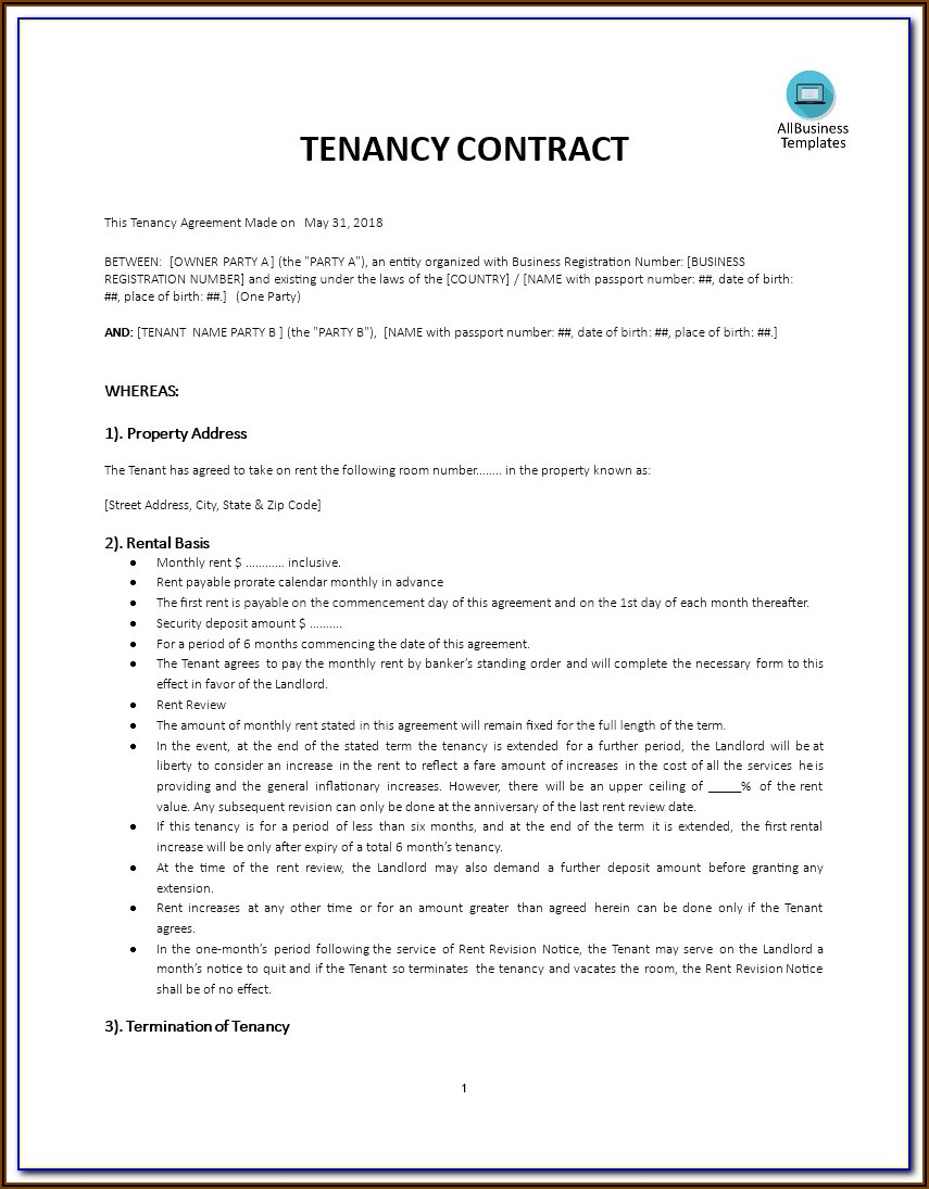 Rental Agreement Contract Template South Africa