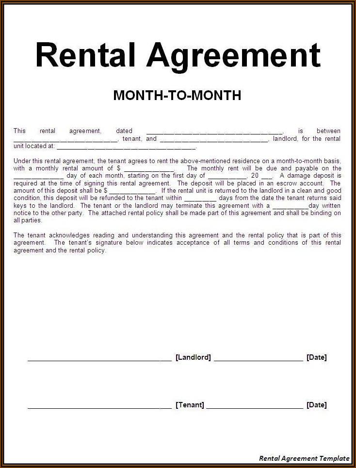 Rental Agreement Document Template