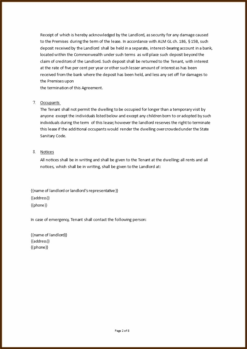 Rental Agreement Sample Document
