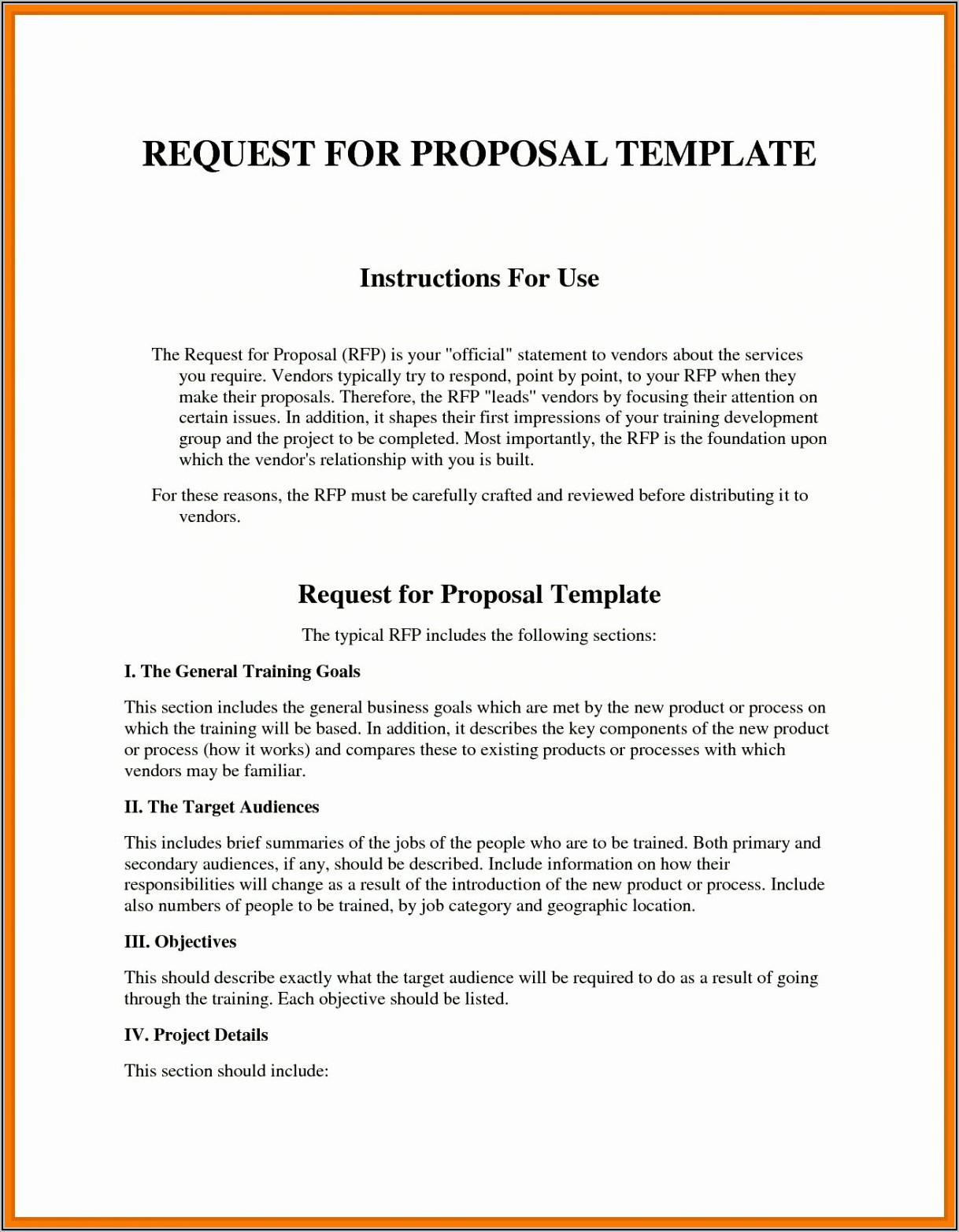 Request For Proposal Sample Rfp Template