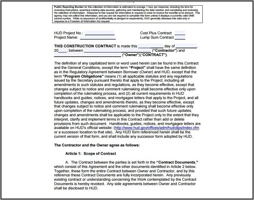 Residential Building Contract Template