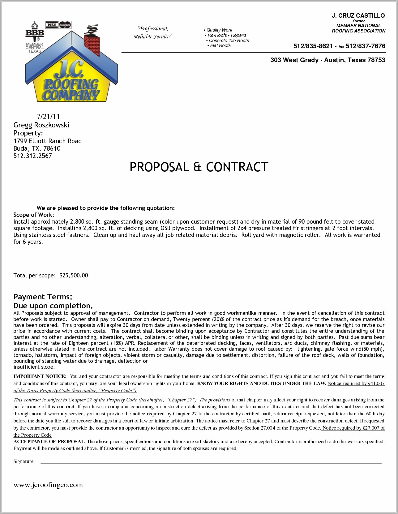 Residential Construction Contract Template Texas