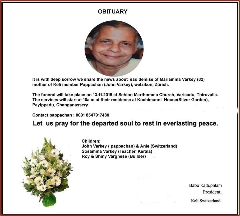 Rest In Peace Facebook Death Announcement Sample
