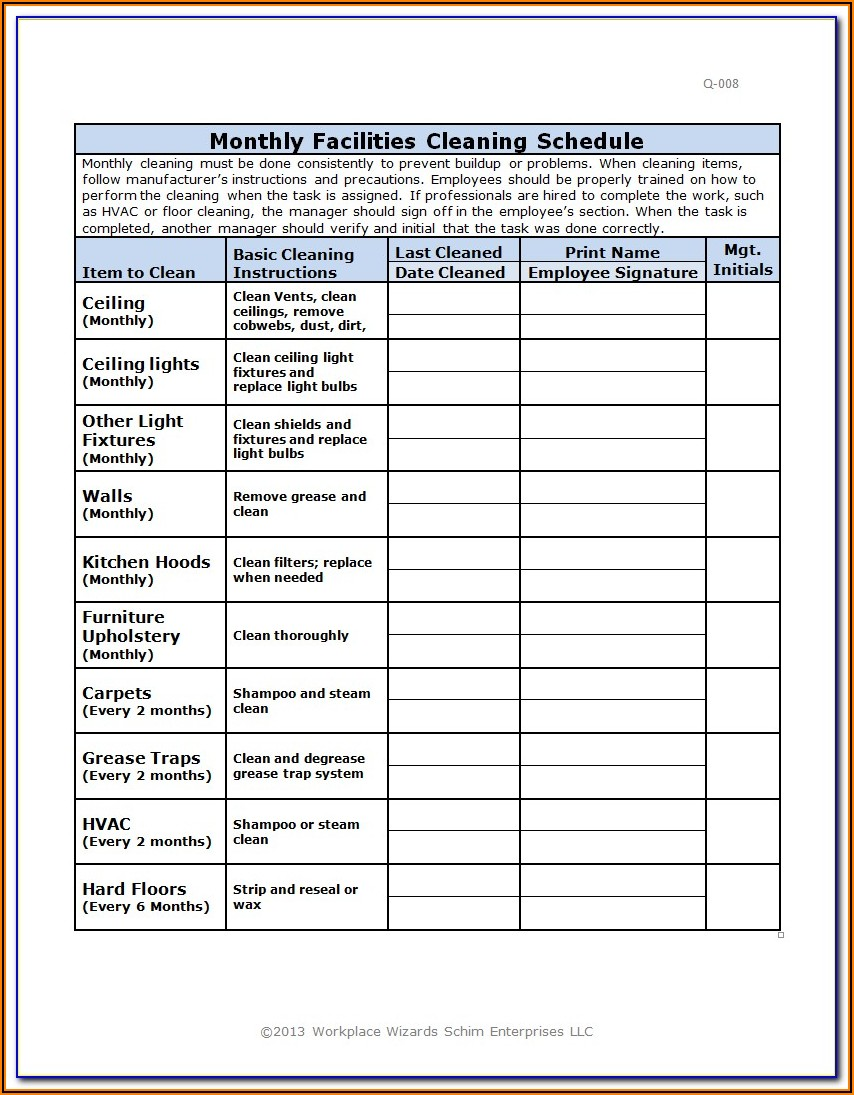 Restaurant Forms And Checklists