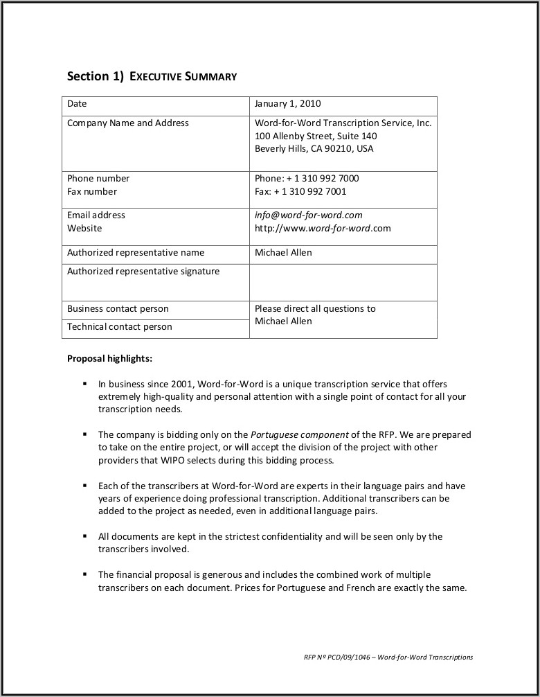 Rfp Request For Proposal Examples