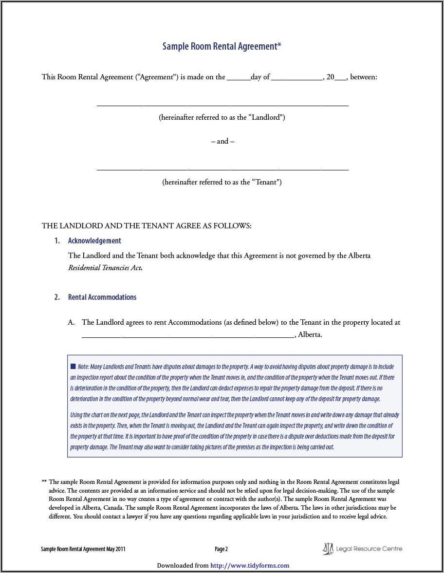 Roommate Lease Agreement Alberta