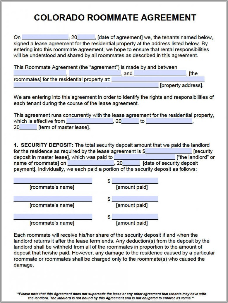 Roommate Lease Agreement Colorado