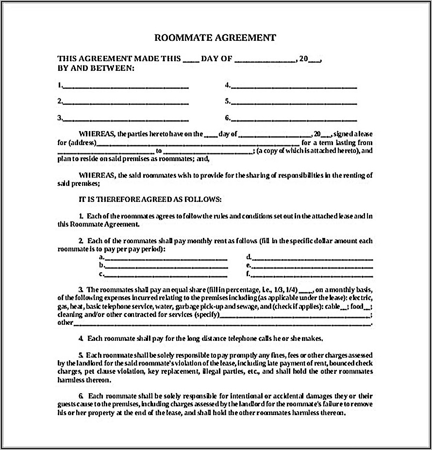 Roommate Lease Agreement Nyc