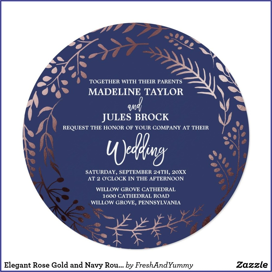 Rose Gold And Navy Wedding Invitations