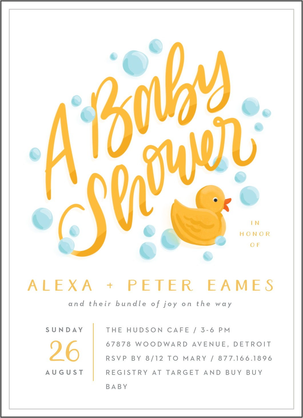 Rubber Ducky Baby Shower Invitations Template Free