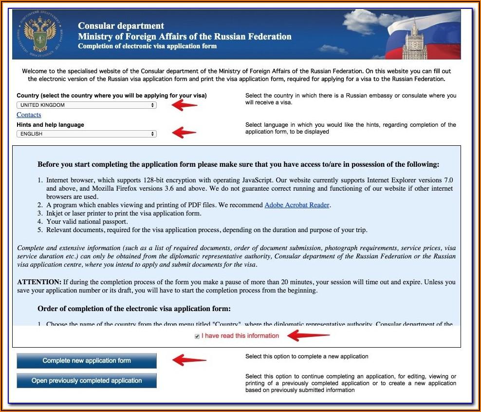 Russian Business Visa Application Form Pdf