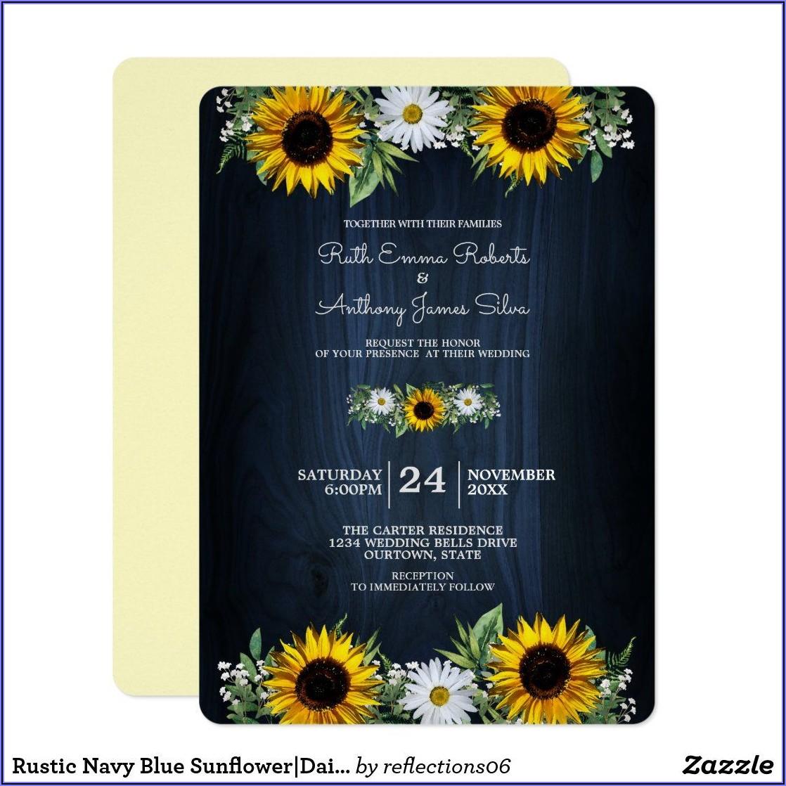 Rustic Navy Blue Wedding Invitations