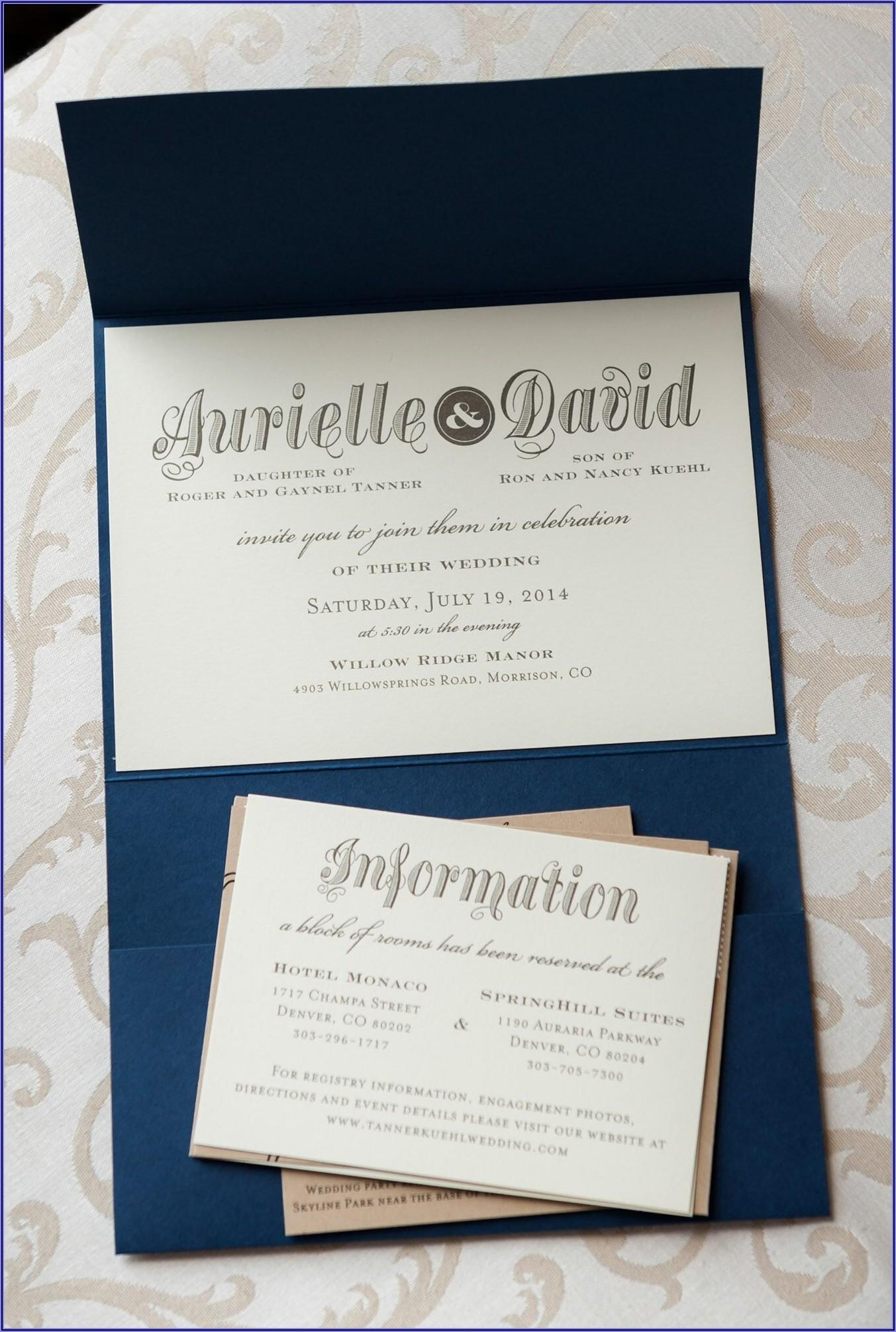 Rustic Navy Wedding Invitations