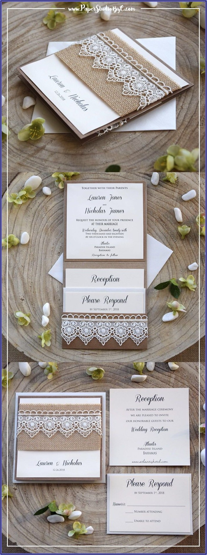 Rustic Pocketfold Wedding Invitations