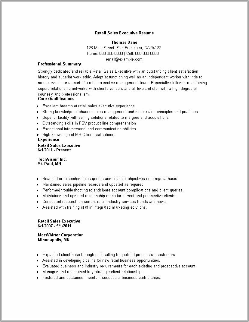Sales Executive Resume Format .doc