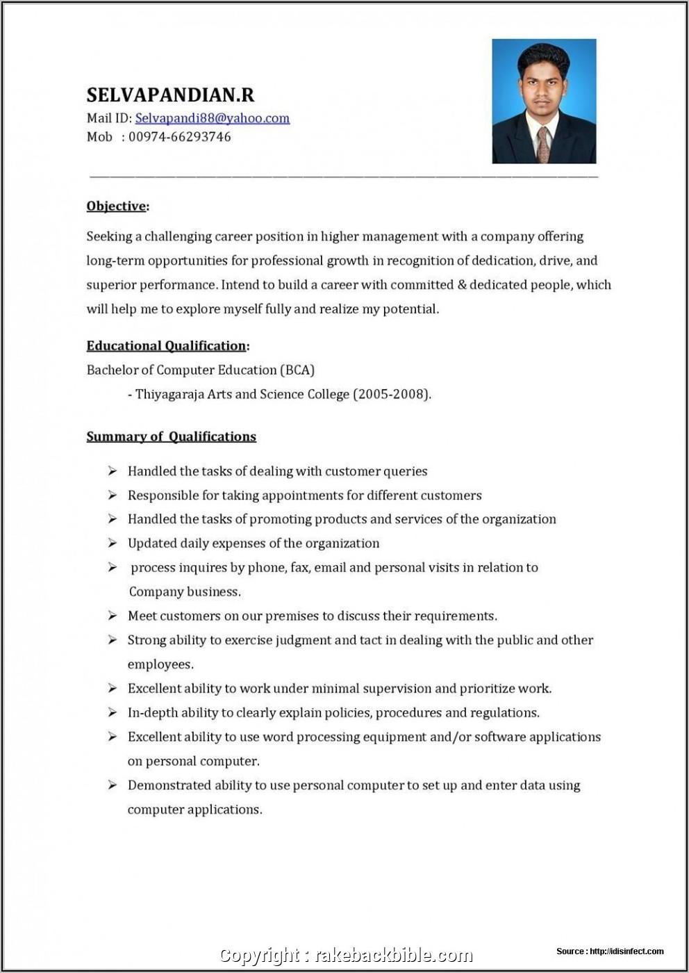 Sales Executive Resume Format India